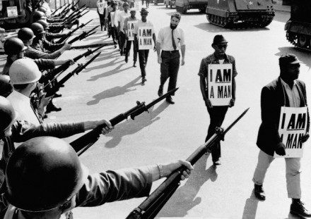 """Civil Rights Marchers with """"I Am A Man"""" Signs"""